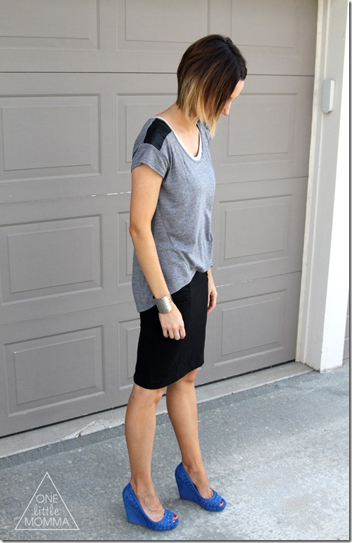 For a great end of Summer outfit- pair this leather shoulder tee and pencil skirt with a cobalt blue color pop