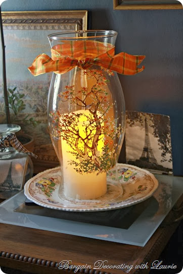 Fall Candle Hurricane-Bargain Decorating with Laurie