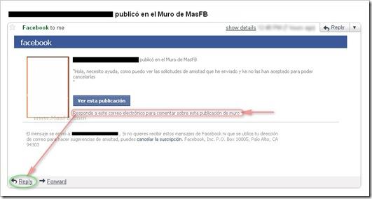 Notificación de publicación de Facebook
