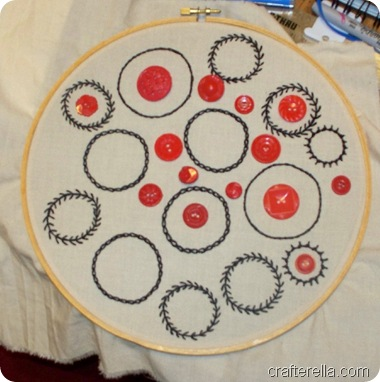 embroidered button display