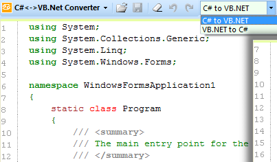 Convert C# to VB.NET Code and Vice Versa