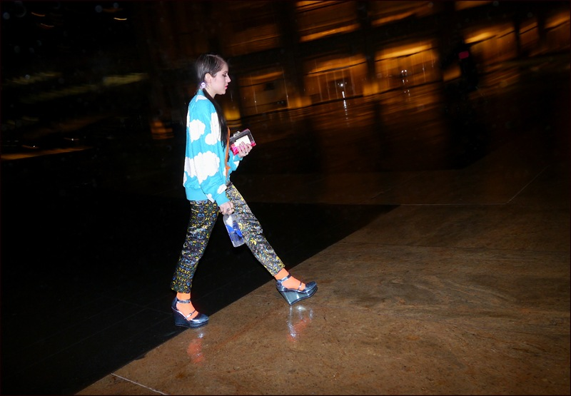 fw 2-2013 slippery when wet 4 bright blue cloud print top blue yellow green black pattern pants blue mary jane platforms ol