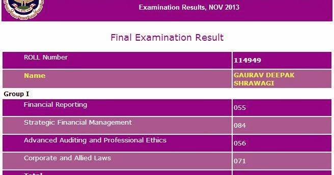 Chartacc Ca Final May 2014 Exam Result Date July August border=