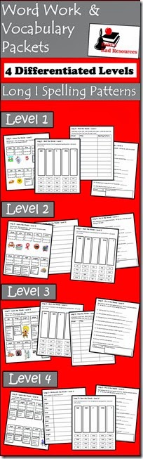Vocab Packets - Long I - Free - 4 differentiated levels that include learning words, using words in a sentence, sorting words, finding words in books and editing mistakes in vocabulary words.  From Raki's Rad Resources