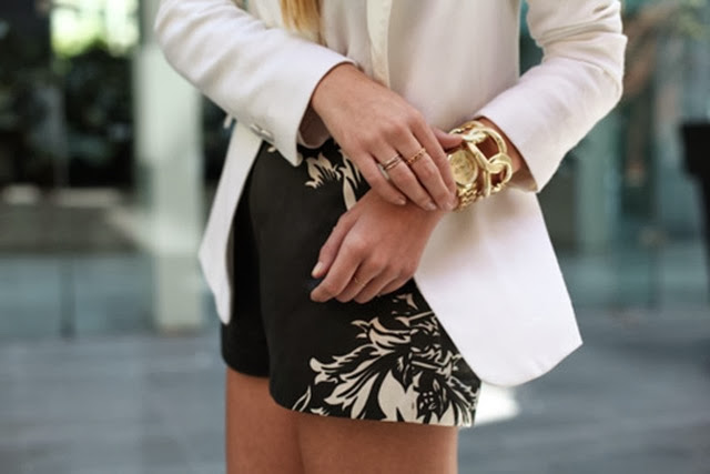 floral black whtie shorts- white blazer- gold accessories- new age street fashion
