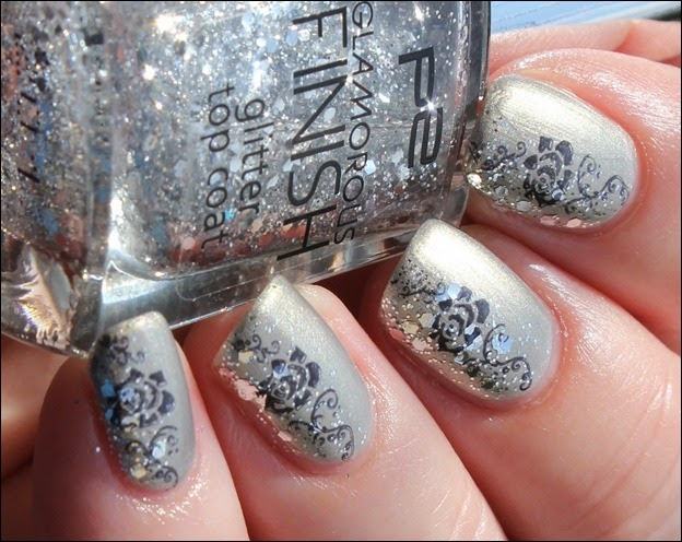 Elegant Grey Nageldesign Nail Art Rose Glitter 2