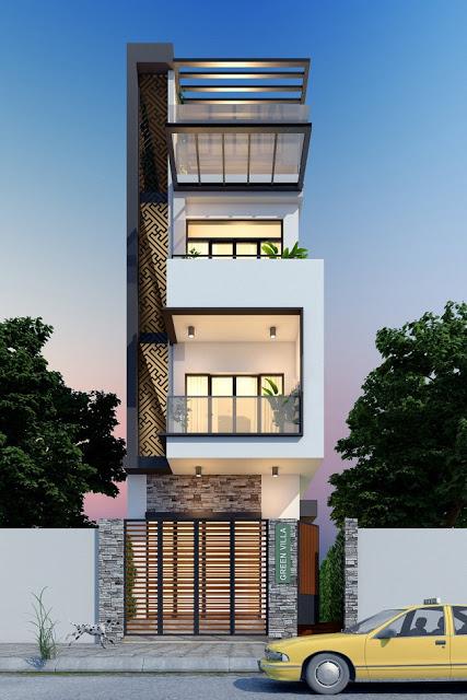 Nhà phố 3,5 tầng đẹp và hiện đại 01