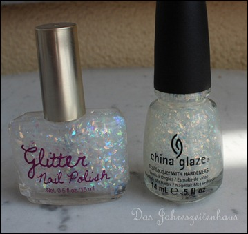 H&M Nagellack Dupe China Glaze Luxe and Lush White Glitter