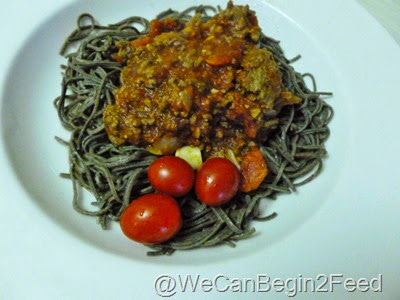 Organic Black Bean Spaghetti with meat sauce