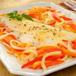 Herbed Roasted Cod With Bell Peppers.
