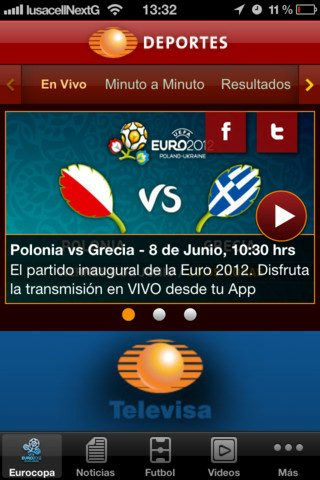 partidos en vivo de la euro 2012 desde el iphone
