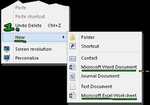 Create New Word.docx, Excel.xlsx