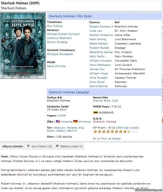 Sherlock Holmes - 2009 Dual 1080p 720p 480p Tek Link indir