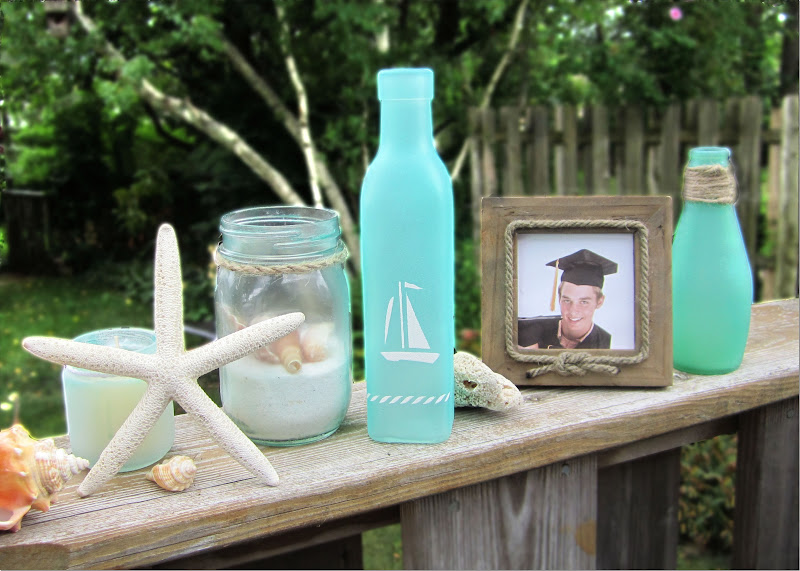 365 Designs Turning Jars Into Beach Glass Other Modern Nautical Decor Using Martha Stewart Crafts Spray Paint System Nautical Stencils