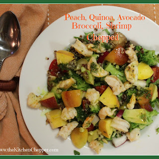 Peach, Quinoa, Avocado, Broccoli, Shrimp Chopped