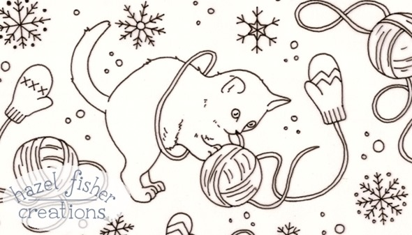 2014 December 06 Kittens with Mittens line drawing 1
