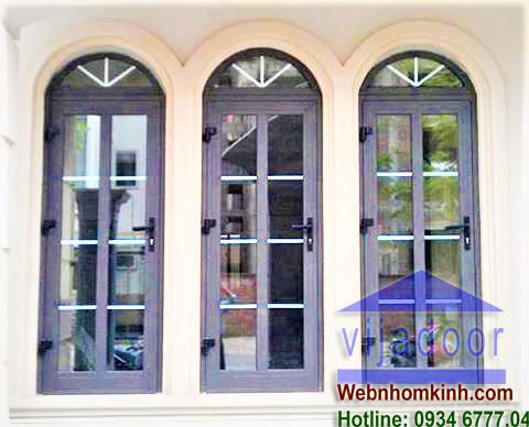 Cửa sổ nhôm Xingfa  uốn vòm khung bao bên trên