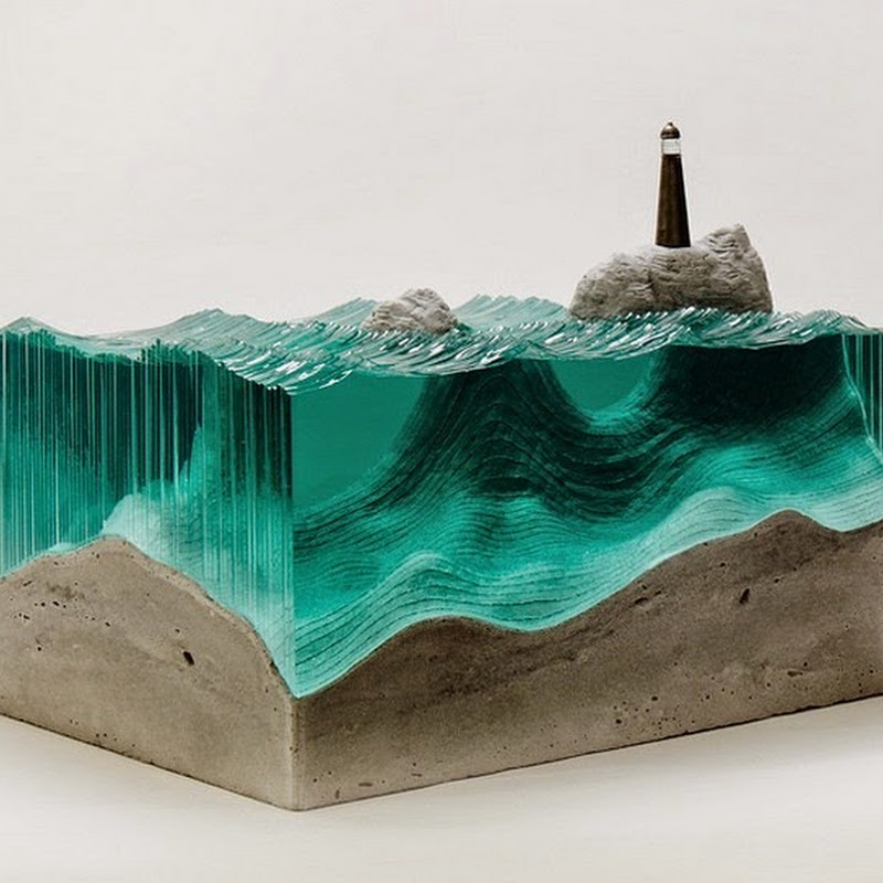 Beautiful Ocean Waves Created Out of Layered Sheets of Glass