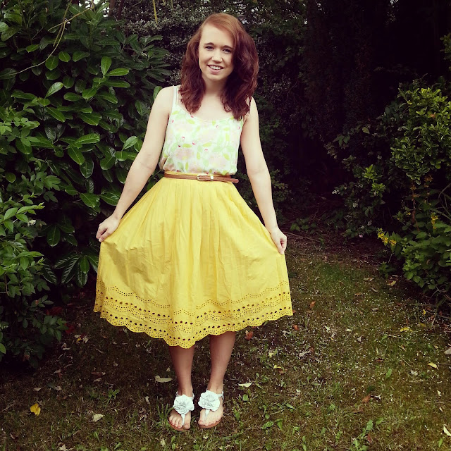 yellow midi skirt