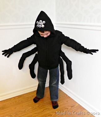 spider costume eyes & LAST MINUTE Spider Costume and Halloween Snack - Mad in Crafts