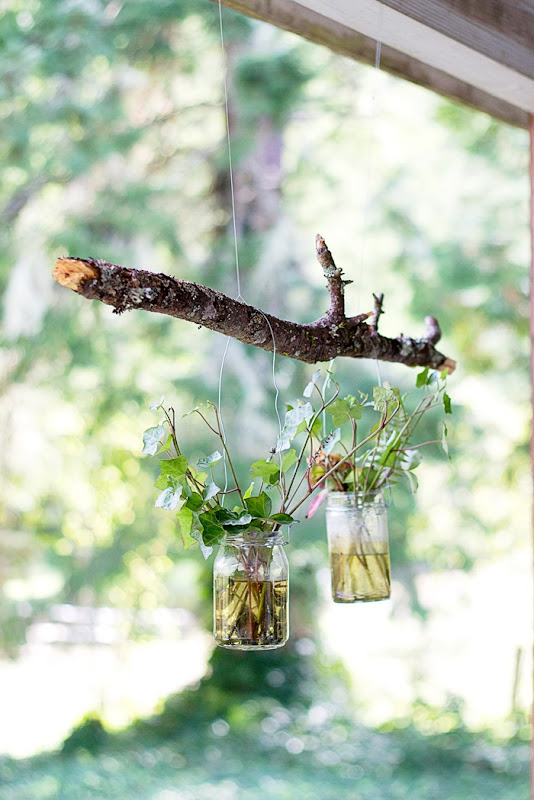 hanging flower pots, hanging mason jars