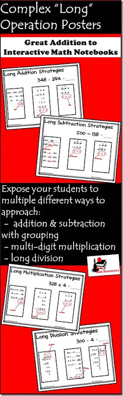 Free Complex Operations Posters - give your students three ways to do long division and to subtract across zeros.  From Raki's Rad Resources