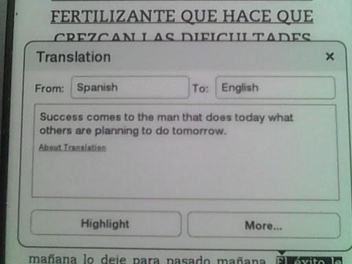 Cómo traducir texto en el kindle