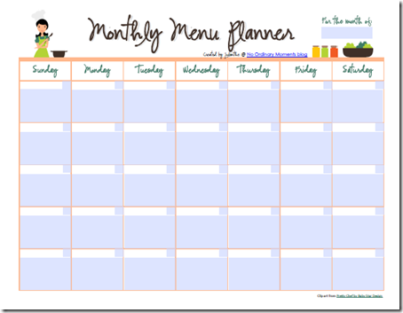 Monthly menu planner an editable pdf for Monthly dinner calendar template