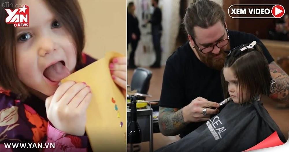 Một bé gái 3 tuổi đã tình nguyện cắt đi mái tóc