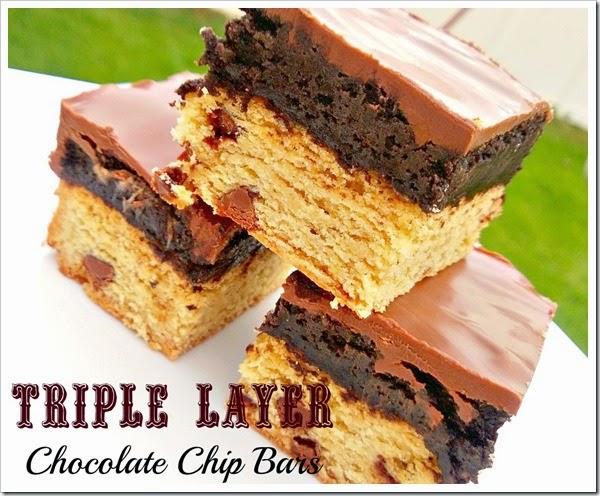 triple layer chocolate chip bars