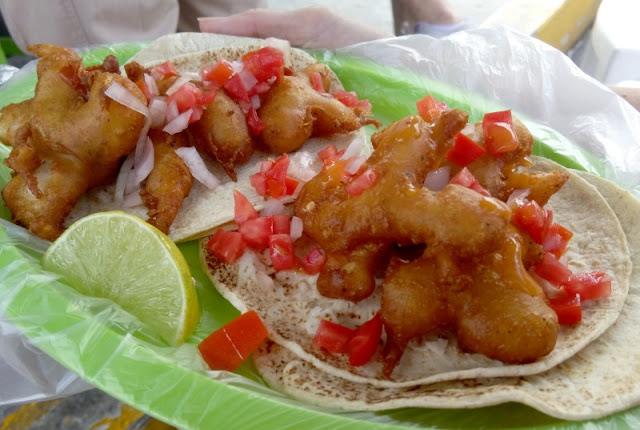 Shrimp tacos at Kuni in Playa del Carmen, Mexico