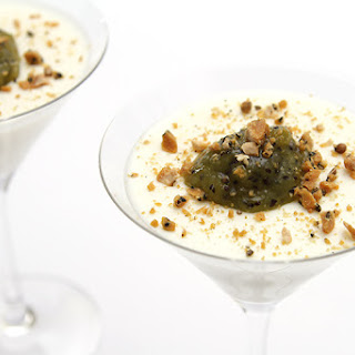 Buttermilk panna cotta with kiwi compote and salted Marcona almond brittle.