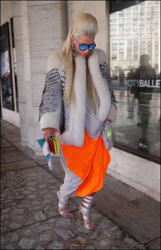 33 w white fur with black accent long light grey acid orange with acid green accent dress silver high heel sandels statment earings mirrored blue aviator sunglasses d ol