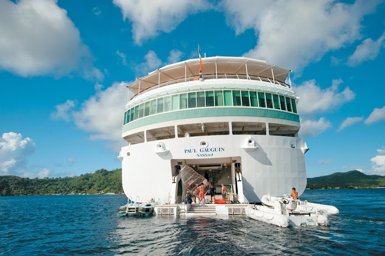 Paul Gauguin's retractable onboard watersports marina offers kayaking and windsurfing at no extra cost.