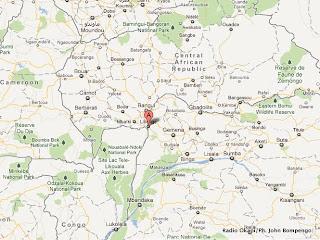 Le point A en rouge, le territoire de Libenge dans la province d'Equateur (RDC).