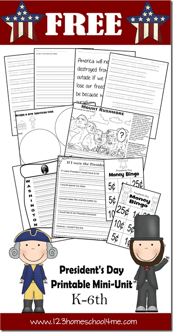 FREE President's Day Printable Min Unit for Kids  K-6th grade Homeschoolers