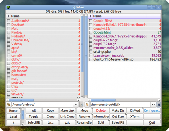Gentoo a lightweight GTK+-based file manager for Unix systems
