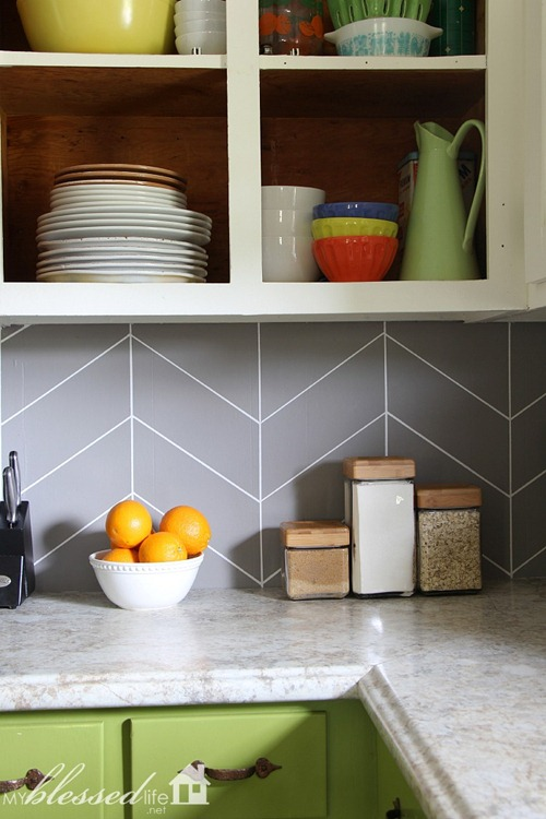 painted herringbone backsplash