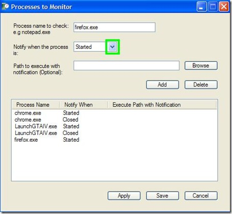 Process Notifier indicare i programmi da monitorare