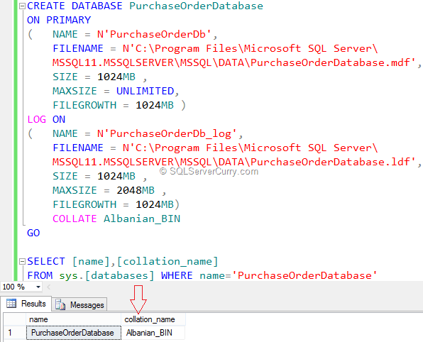 Create Database in SQL Server With Different Configuration Options