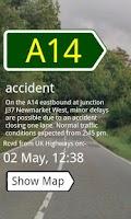 Screenshot of UK Traffic Alerts