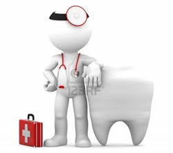 Dentist-with-stethoscope-standing-in-front-of-big-white-tooth-isolated