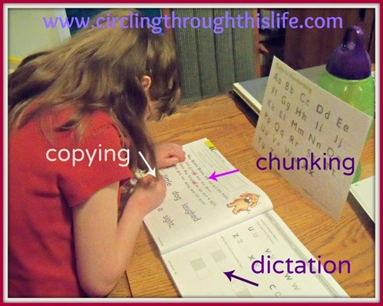 Supergirl copies the phrase after chunking the -ed endings in her Spelling You See curriculum.