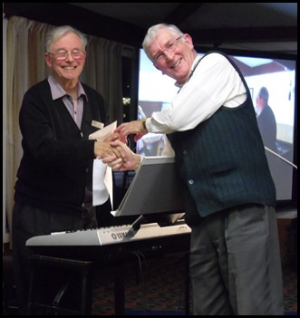 Club President, Gordon Sutherland, making a presentation to our wonderful Guest Artist, Ron Stanwell after his magnificent Concert for us. Photo courtesy of our acting-Secretary, Peter Littlejohn.