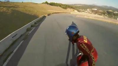 Imagine racing down an asphalt road at 80kmh blind on a skateboard