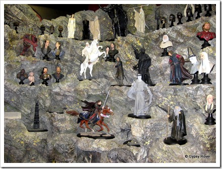 Miniature collectables of Lord of the Rings at Weta Cave, Miramar.