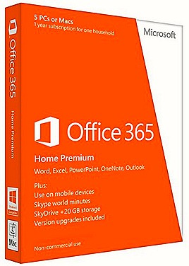 MICROSOFT OFFICE 365 PRICES 2013 HOME PREMIUM cloud service office web apps  share works across Windows tablets, Windows phones, PCs, Mac 20GB SkyDrive storage Skype calling