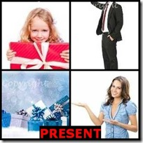 PRESENT- 4 Pics 1 Word Answers 3 Letters