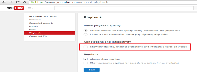Youtube annotation settings