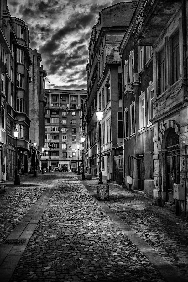 Bucharest historical district by Cosmin Anghel - City,  Street & Park  Historic Districts ( bucharest, b&w, oldtown )